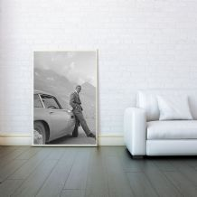 James Bond 007, Aston Martin DB5, Goldfinger, Prints & Posters, Wall Art Print, Gifts For Men, Any Size - Black and White